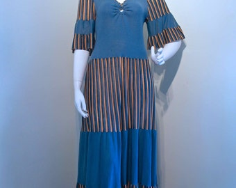 Vintage 1970s MAXI DRESS Ribbed Jersey Keyhole Front Tiered // Flutter Sleeves // Petrol Blue and Apricot Stripes