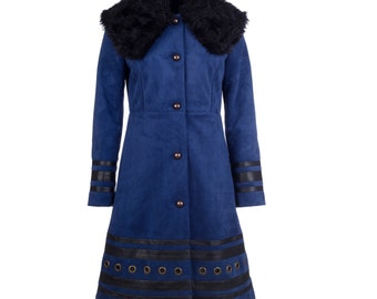 Winter coat with fur, leather and eyelets, women's winter coat, suede winter coat - collection MORENA #1 - size M/38
