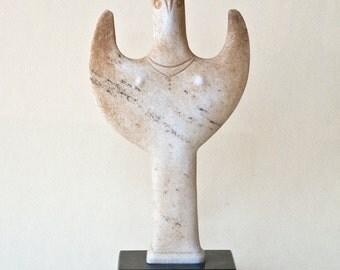White Marble Statue Greek Sculpture, Mycenaean Psi Female Figurine,Ancient Greek Art, Sculpture Art, Unique Art Gift, Minoan Greek Goddess