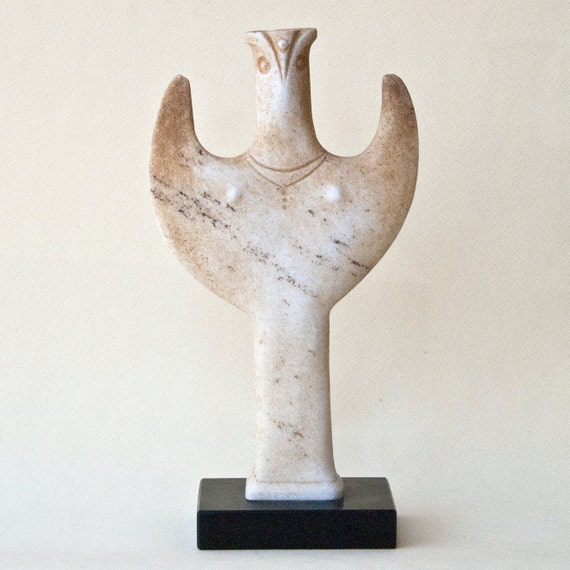 White Marble Statue : White marble statue greek sculpture mycenaean psi female