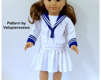 "1841 Valspierssews 18"" doll clothes Pattern, Vintage Sailor Suit, Deep V, Pleated Skirt, Fits popular 18"" Dolls, PDF Download"
