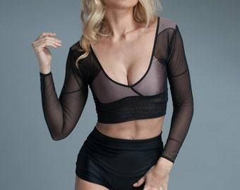 Black Crop Top - Sleeve Crop Top - Womens Top