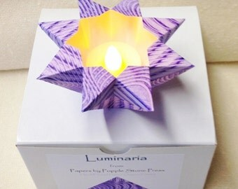 Small Luminary - Hand-painted, Origami-folded Paste Paper - Purple