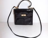 Vintage 1980s Russell and Bromley black patent leather shoulder or grab kelly handbag bag