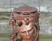 Carson Bronze Greenman Fall Leaf Lantern - Rare! - Outdoor Tree Candle Holder - Porch Lamp - Patio Decoration 1996 - Yankee Candle