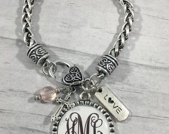 Bride to Be Gift, Wedding Bracelet, Wedding Jewelry, Bridal Jewelry, Personalized Bracelet, Monogrammed Jewelry, Gift for Bride, Initials