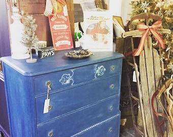 Blue Burlwood Painted Dresser