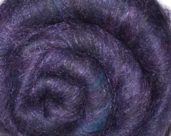 Carded batt for spinning and felting - Drum carded mixed fiber batt - Creeping Dusk - 2.5 ounces