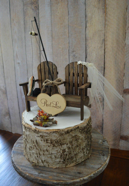Cake Decorations Fishing Theme : Fishing camping themed wedding cake topper fishing pole camp