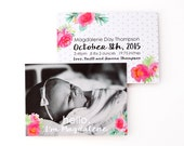 Girl Birth Announcements Baby Photo Cards Pink Floral Watercolor Baby Announcement Custom Birth Details Newborn Personalized New Baby Cards
