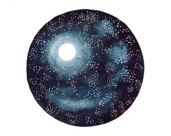 Original watercolor painting Moon and Stars Space art Galaxy art Moon light Navy blue circle painting Wall decor