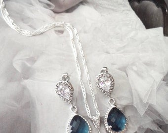 Blue necklace and earring set - Blue Teardrop Set - Sterling Silver - Bridal jewelry set, Wedding jewelry set ~ Something Blue,Gift