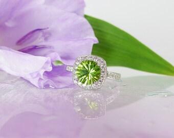 Peridot Ring, Peridot Sterling Silver Ring, Natural Peridot, August Birthstone Ring
