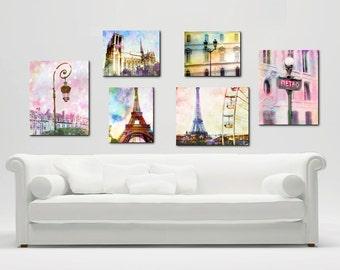 Paris Photography Canvas Wrap Wall Art, Pink Paris Canvas Art Set, Pastel Eiffel Tower Canvas Decor GIrls Room