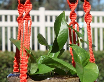 MARRAKESH - Long Handmade Macrame Plant Hanger Plant Holder with Wood Beads - 4mm Braided Poly Cord in CORAL