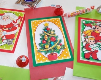 Retro Christmas Treat Bags Party Favors School Party Holiday Treat Bags Retro Christmas Decor Pkg 003 Set of 12
