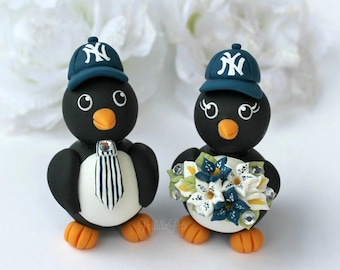 Wedding penguin cake topper, custom baseball cake topper, love birds wedding with banner, sport wedding