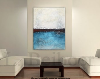 Original large painting textured 30x40 abstract blue raw modern oil painting palette knife minimalist art by L.Beiboer