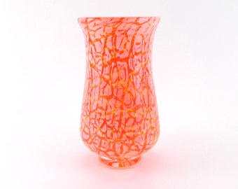 Hand Blown Art Glass Vase in Orange and Yellow