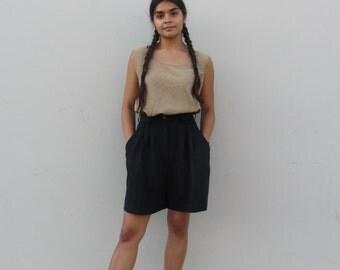 Vintage bermuda shorts 90s black pleated shorts Minimalist  knee length shorts Vintage dress slacks