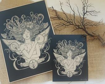Freedom Art Nouveau style original signed print