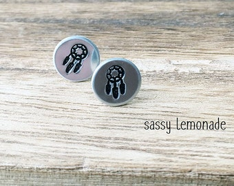 Dreamcatcher Earrings / Hand Stamp Surgical Steel Earrings / Dainty Dream Catcher Studs / Boho Spiritual Zen