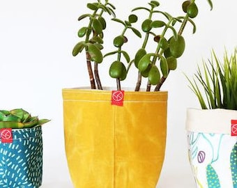 Waxed Canvas Fabric Bucket - Sunshine (multiple sizes avail.)