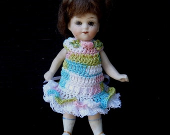 """Crocheted Dress for 4"""" - 4 1/2 """" Antique All Bisque Mignonette Pin Jointed Doll"""