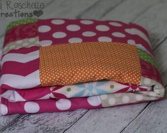 baby girl blanket, girl baby blanket, patchwork blanket, soft baby blanket, minky blanket, pink, owls, flowers,  baby blanket