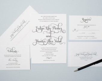 Printable Wedding Invitation Set - Do-It-Yourself - Calligraphy - Classic Black and White - Whimsical Script Font - Evelyn