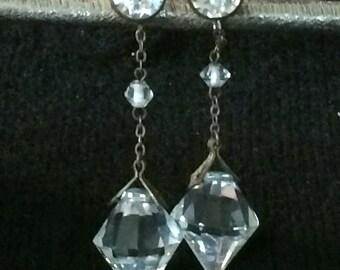 Art Deco Crystal Dangle Statement Earrings, Vintage Crystal Clear Earrings, Rock Crystal