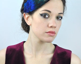 Feather Fascinator Hair Clip in Vibrant Turquoise and Glossy Black