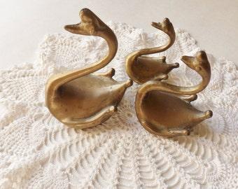 Set of Three Andrea by Sadek Brass Swans