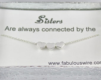 Sisters Heart Necklace, Sterling Silver Heart Sister Necklace, Heart Charm Necklace, Sisters and Best Friends, Gift for Sister Y061