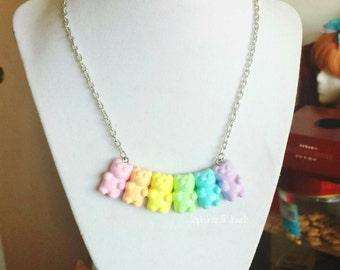 Pastel Rainbow Gummy Bear Necklace (LARGE)