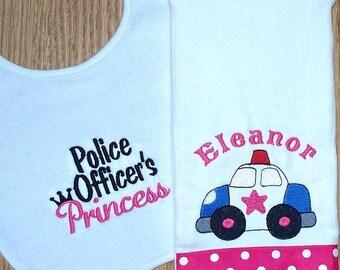 Policeman Baby Girl Gift Set Police Officer's Princess Bib Police Car Burp Cloth Personalized