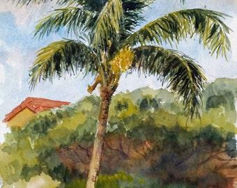 Kaanapali Palm -  print of my original watercolor painting
