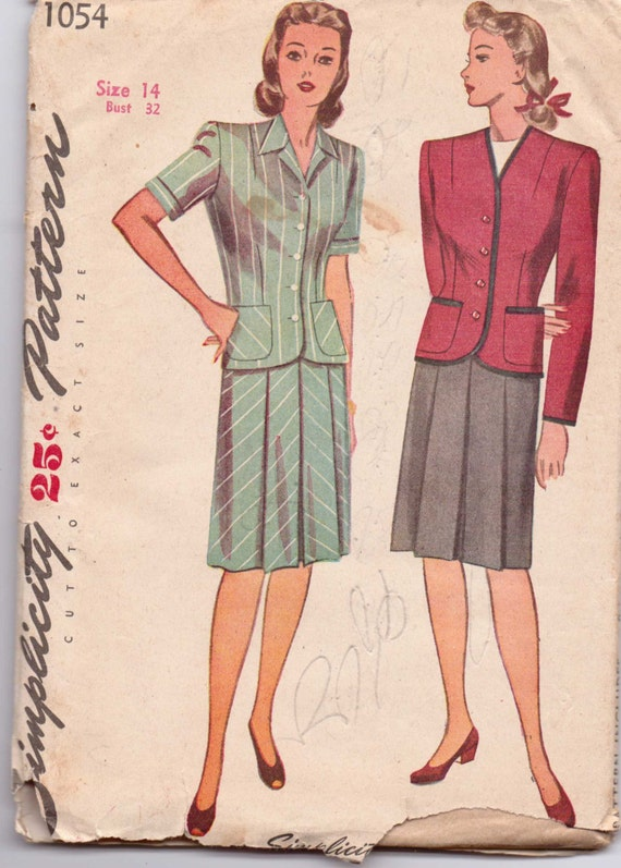 Simplicity 1054 Sewing Pattern 40s Misses and Women's Two Piece Suit Size 14