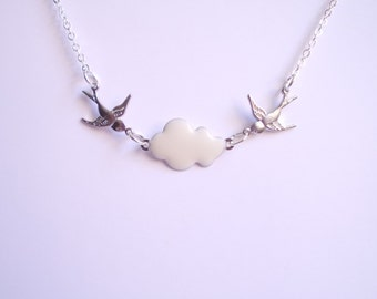 Swallow and cloud necklace. Silver necklace. Swallows charm. Spring jewelry. Sterling silver plated. Rockabilly vintage style. Bird necklace