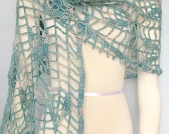 Teal Firefly Stole hand crocheted shawl
