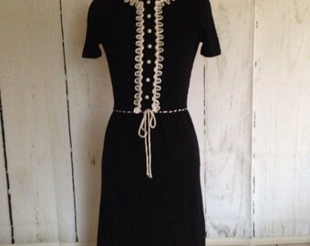 Vintage 60s Black Knit Dress - size 2  XS - little black dress