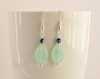 Green glass earrings, Green drop earrings, Light green earrings, Mint green jewellery, Silver, Small drop, Gift, UK shop, E0047
