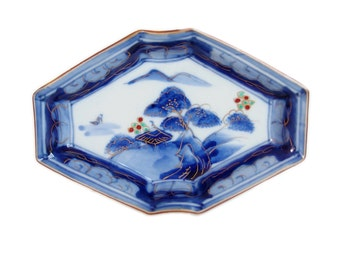 Antique Japanese Plate. Japanese Porcelain. Imari. Blue and White. Mountains. Trees. Sometsuke. Japanese Antique. Pottery. Clouds. Flowers.