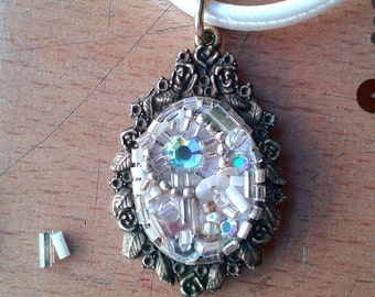 Pendant - white-iridescent bead embroidery choker with rhinestones and mixed beads