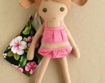 Fabric Doll Rag Doll Light Brown Haired Girl in Pink Ruffled Bathing Suit and Hawaiian Print Sarong