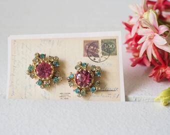 Vintage Floral Earrings/ Coro Earrings/ Vintage Jewelry/ Earrings/ 1950s Jewelry/ Antique Jewelries/ Rhinestones Earrings/ Retro Jewelry