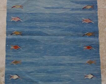 2 by 4 rug / Vintage Oushak Rug / Vintage Kilim / Turkish Kilim Rug / Small Kilim Rug / Oushak Rug / Kilim Pillow / Kitchen Rug / Kilim Rug