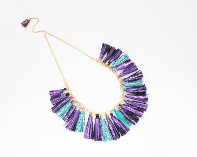 SALE/ BOUQUET 59 / Natural leather necklace - metallic necklace - purple necklace - blue necklace - leather fringe jewelry - Ready to Ship