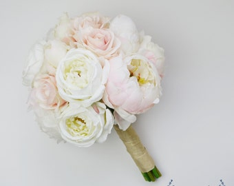 Wedding Bouquet, Silk Wedding Bouquet, Peony Bouquet, Blush Rose Cream Peony Bouquet, Blush Bouquet, Cream Bouquet, White Bouquet