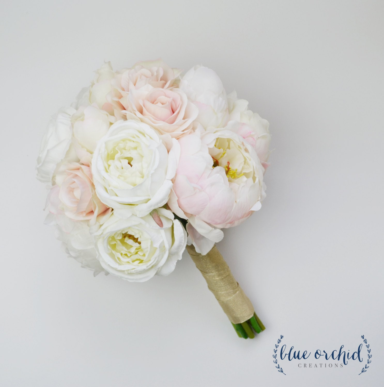 Wedding Bouquet Silk Wedding Bouquet Peony Bouquet Blush